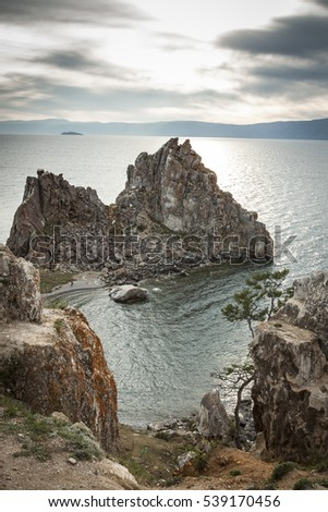 Beauty Baykal lake in Russia - Shaman Rock