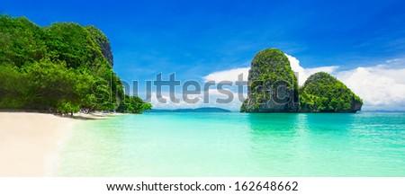 Beauty beach and limestone rocks - stock photo