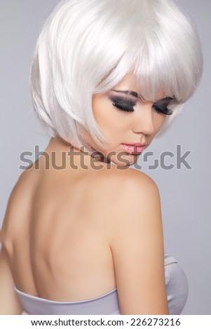 Vogue Style Beauty Fashion Girl Model Stock Photo - Haircut girl model