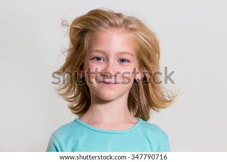 Beauty blonde girl kid portrait - stock photo