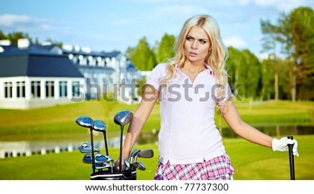 beauty blonde girl play golf - stock photo