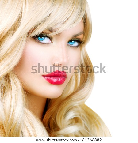 Beauty Blonde Woman Portrait. Beautiful Blond Girl with Healthy Long Wavy Hair. White Hair. Hairstyle. Beauty Sexy Model. Perfect Skin and Make up. Pretty Face. Hair Extensions. Isolated on White
