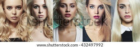 Beauty blondes collage. Faces of women. Fashion photo. Different beautiful blond girls - stock photo