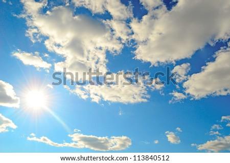 beauty blue sky with sun (series) - stock photo