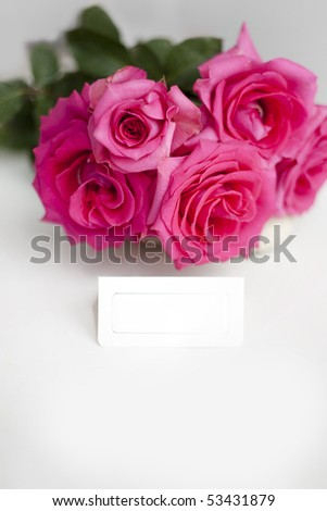 Beauty bouquet of roses with greeting card