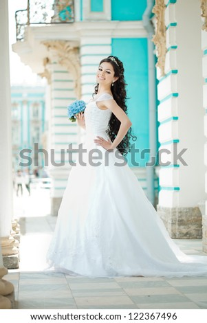 Beauty bride with long hair - stock photo