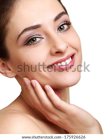 Beauty clean perfect skin of woman . Closeup portrait