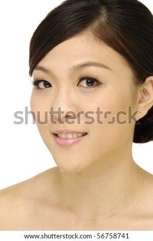 beauty close-up portrait young woman - stock photo