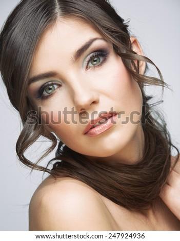 Beauty close up woman portrait. Female model studio portrait. - stock photo