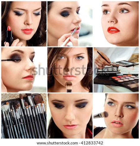 Beauty collage. Faces of women. Fashion photo. Makeup artist applies lipstick and eye shadow. - stock photo