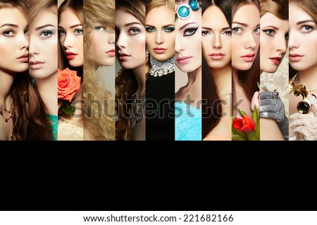 Beauty collage. Faces of women. Group of people. Fashion photo - stock photo