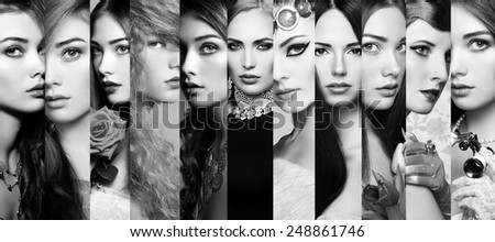 Beauty collage. Faces of women. Group of people. Fashion photo. Perfect make-up. Black and White