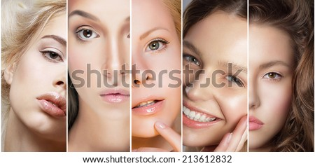 Beauty Collage. Set of Women's Faces with Different Make Up - stock photo