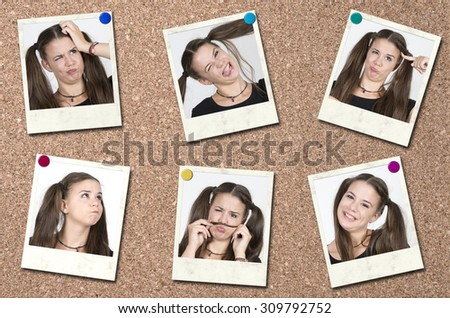 beauty collage, young beautiful girl posing grimacing on polaroid background - stock photo