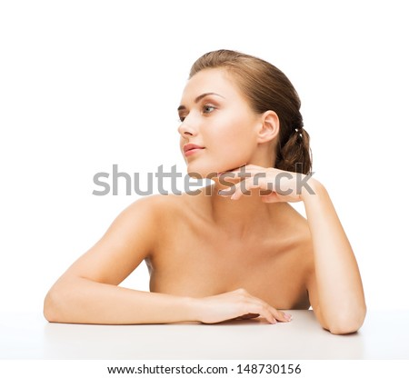 beauty concept - face and hands of beautiful woman with clean perfect skin - stock photo