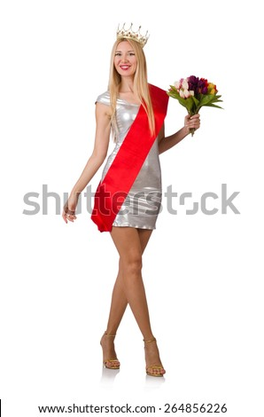 Beauty contest winner isolated on the white - stock photo