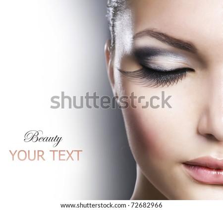 Beauty Face closeup.Makeup - stock photo