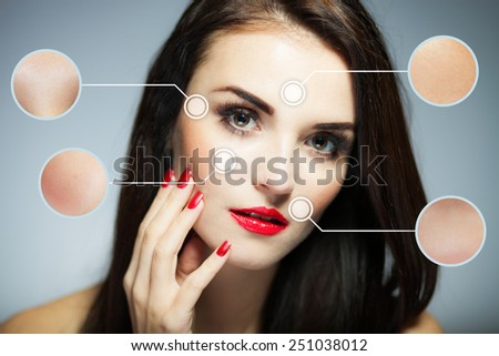 Beauty face concept, anti aging procedures on facial skin - stock photo