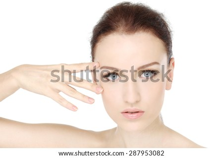 Beauty face of beautiful woman with clean fresh skin - stock photo