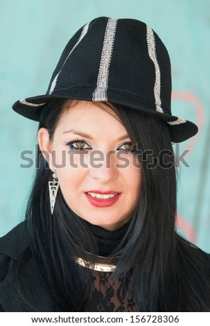 beauty face of sexy girl with stylish black clothes