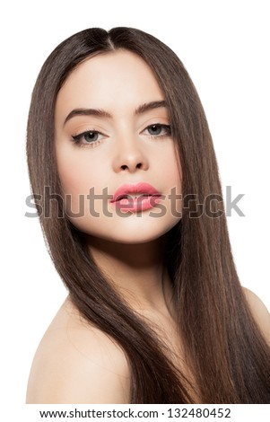 Beauty face of woman with clean fresh skin and long hair - stock photo