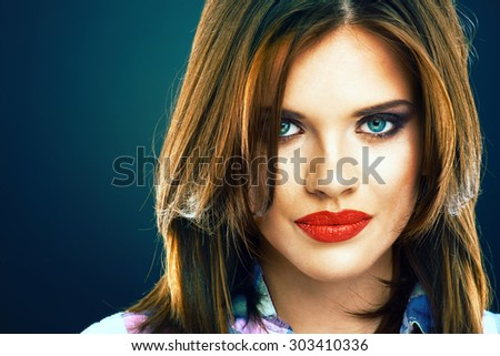 Beauty face portrait of young woman with long hair. - stock photo