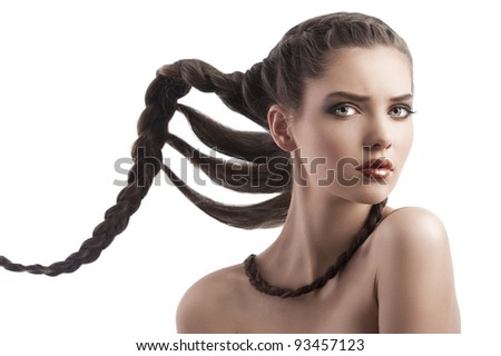 beauty face shot of a pretty brunette with long braided hair on white - stock photo
