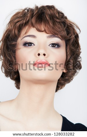 Beauty face woman portrait.  Young beautiful model. Short hair. - stock photo