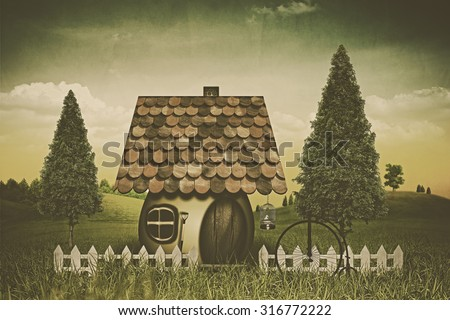 Beauty farmland and house. Abstract fairy tale backgrounds. Retro style with grungy texture - stock photo