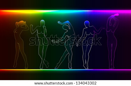 Beauty, fashion concept. silhouettes of naked female figures - stock photo