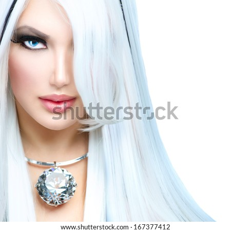 Beauty Fashion Girl black and white style. Long White Hair with Black Stripes. Smoky Eyes Makeup Luxury Accessories. Sexy Woman Portrait  - stock photo