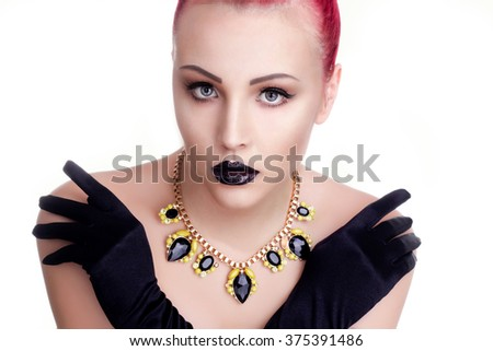 Beauty Fashion Glamour Girl Portrait. Vintage Style Girl Wearing Gloves. Jewellery.  - stock photo