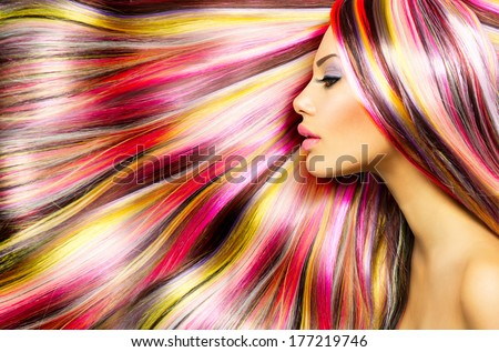 Beauty Fashion Model Girl with Colorful Dyed Hair. Colourful Long Hair. Portrait of a Beautiful Girl with Dyed Hair, professional hair Coloring. Colouring hair - stock photo
