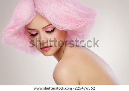 Beauty Fashion Model Girl with Pink Hair. Colourful Hair. Colouring hair - stock photo