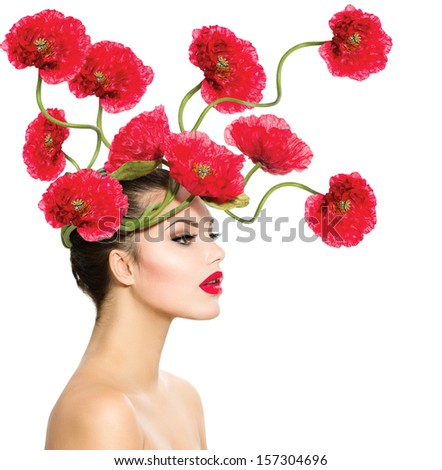 Beauty Fashion Model Woman with Red Poppy Flowers in her Hair. Perfect Creative Make up and Hair Style. Hairstyle. Beautiful Girl. Red Lipstick and Smooth Skin. Isolated on White Background. Nature.  - stock photo
