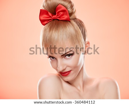 Beauty fashion portrait loving woman smiling. Sensual attractive pretty nude blonde sexy girl, Pinup hairstyle, red bow. Confidence unusual emotional playful. Romantic, retro vintage, skincare on pink - stock photo