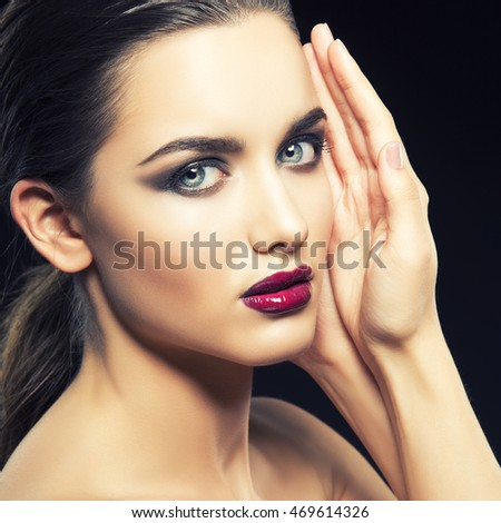 Closeup beauty portrait pretty blonde girl stock photo for Adiva beauty salon