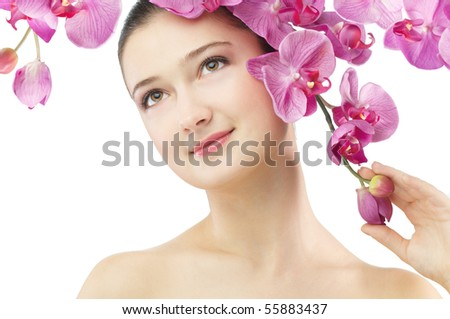 beauty flower girl on the white background - stock photo