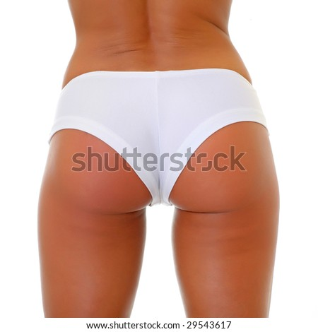 Beauty girl back in white pants, isolated on a white background, please see some of my other parts of a body images: