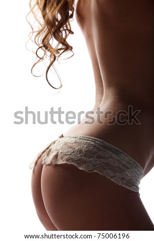 Beauty girl back in white pants on white background - stock photo