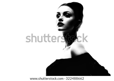 Beauty Girl. Beautiful Young Woman with Fresh Clean Skin, Beautiful Face. Pure Natural Beauty. Perfect Skin. Isolated on a White Background. Portrait of Beauty Girl. Youth - stock photo