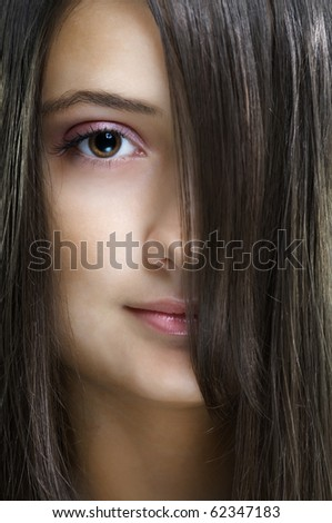 beauty girl close-up portrait - stock photo