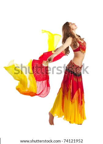 Beauty girl dance with fantail in oriental costume - stock photo