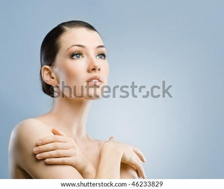 beauty girl on the blue background