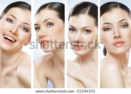 beauty girl on the blue background collage - stock photo