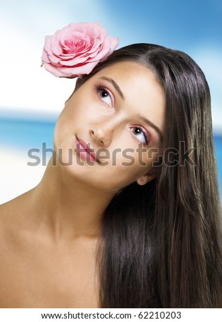 beauty girl on the blurry background - stock photo