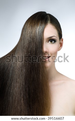 beauty girl on the grey background