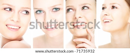 beauty girl on the white background collage - stock photo
