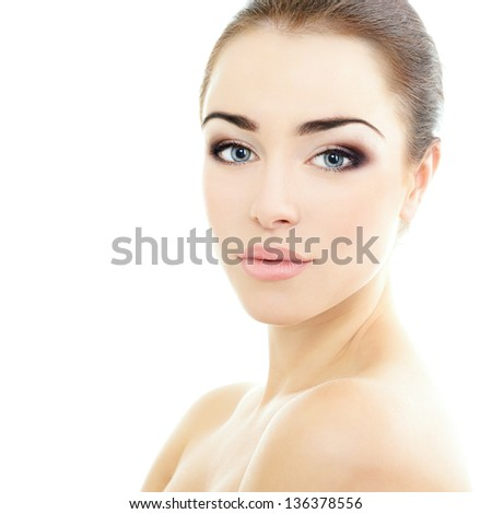 beauty girl portrait, young beautiful woman portrait with clean skin, face closeup over white studio shot - stock photo