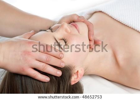 beauty girl spa massage on white background - stock photo